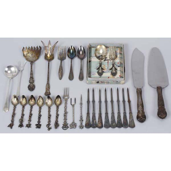 Various sterling and silver flatware and
