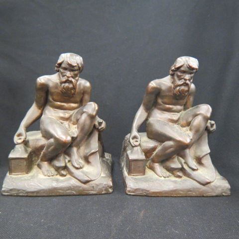 Pair of Figural Bronze Bookends,seated man
