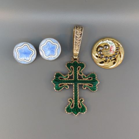 Enameled Jewelry Lot;green cross with hallmarks