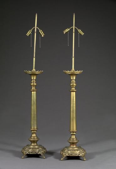 Large Pair of Continental Gilded Brass Pricket