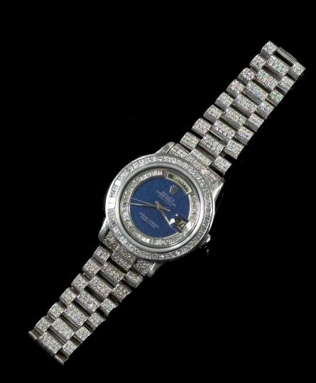 Gentleman's Eighteen-Karat White Gold, Lapis