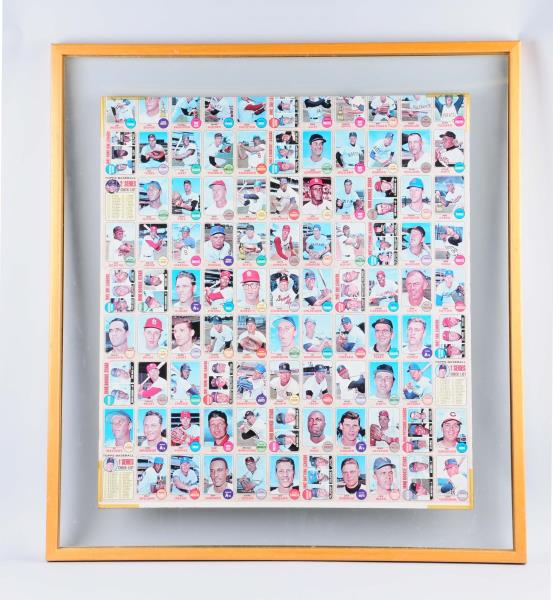 Framed 1968 Topps Baseball Card Sheet. Uncut,