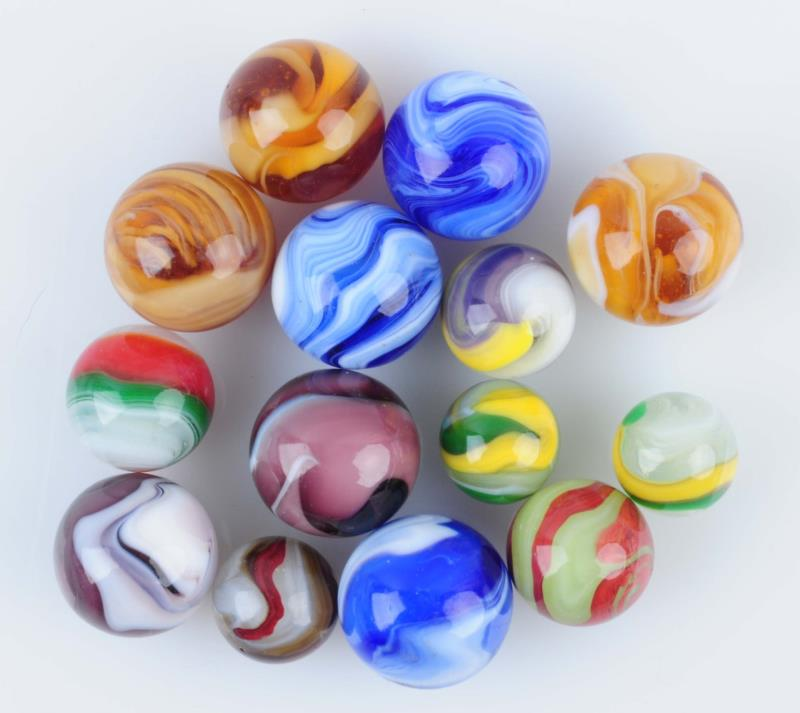 Lot Of 14: Machine Made Marbles. Lot includes