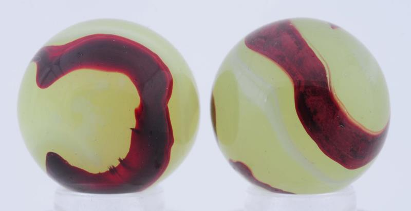 Lot Of 2: Akro Agate Lemonade Oxbloods. Both