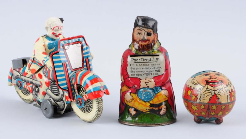 Lot Of 3: Tin Toys. Tin Poor Tired Tim ,