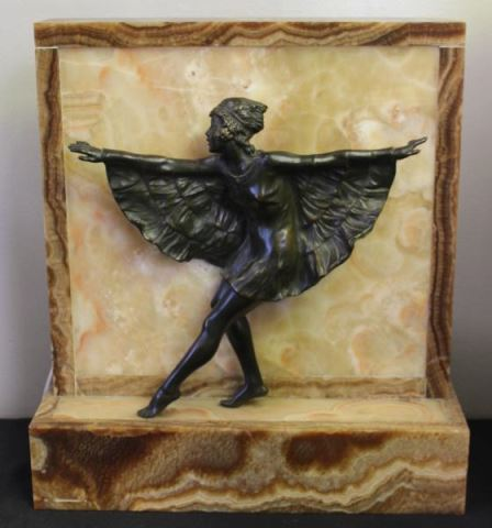 Art Deco Patinated Bronze & Onyx Figural