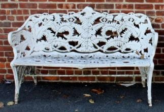 Victorian Cast Iron Fern & Blackberry Bench.From