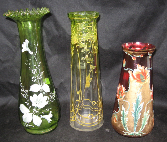 Price Guide For Group Of Three Bohemian Glass Vases Consisting