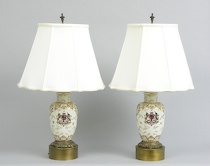 290. A Pair Of Vintage Lamps And Shades  A
