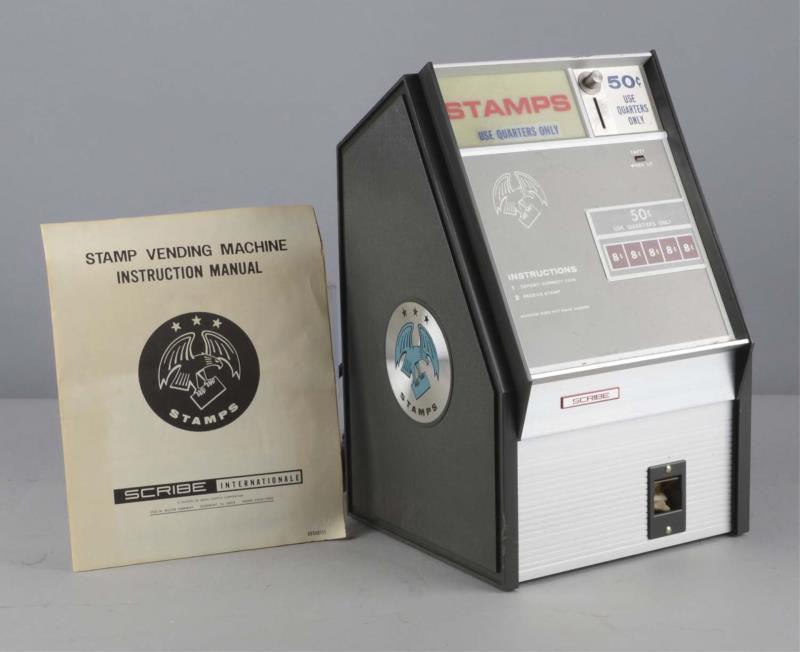 Price guide for 25¢ Scribe International Stamp Vending