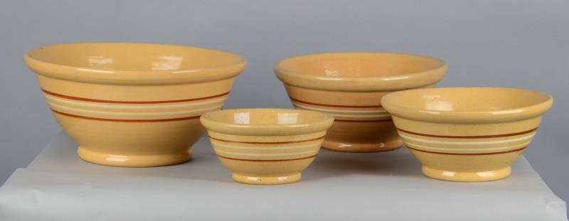 1325A  Lot Of 4: Yellow Ware Nesting Bowls Four