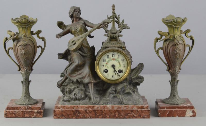Lot of 3:French Art Nouveau Clock and Candlesticks Including