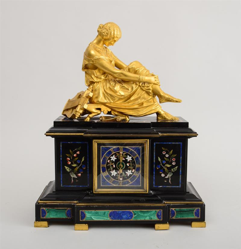 FRENCH GILT-BRONZE FIGURAL-MOUNTED PIETRA-DURA