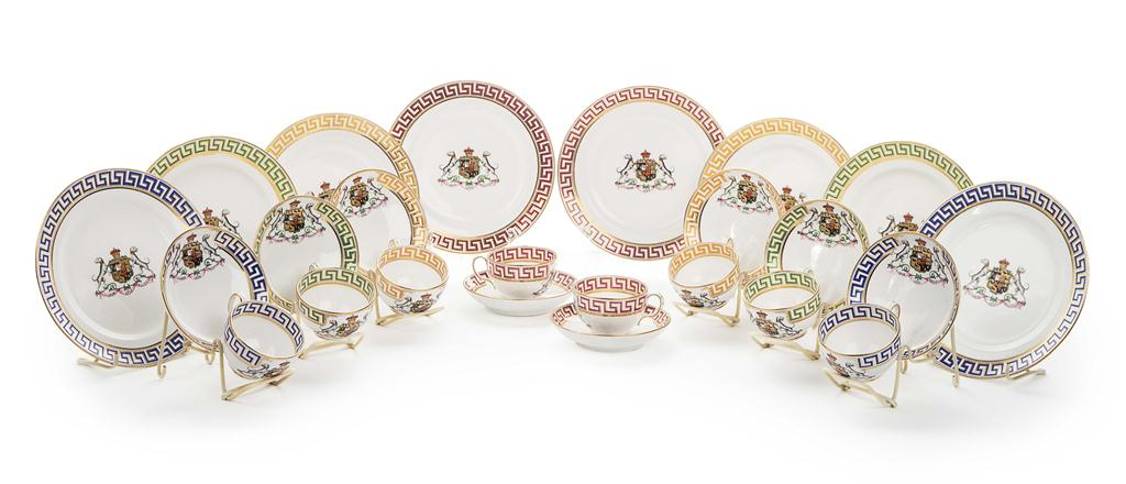 ENGLISH ARMORIAL PORCELAIN TEA SERVICE  RETAILED