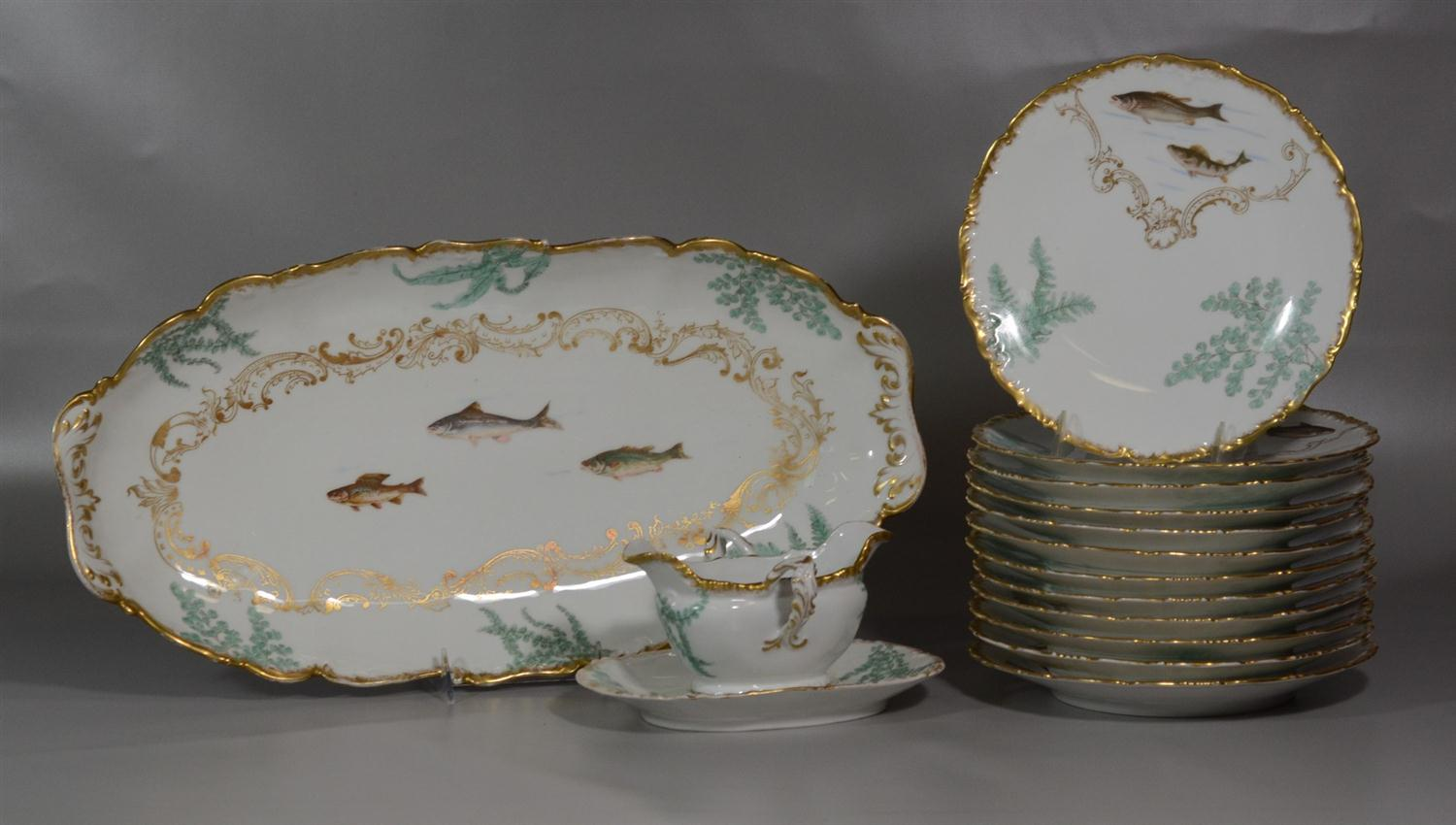15-piece T&V Limoges France painted fish