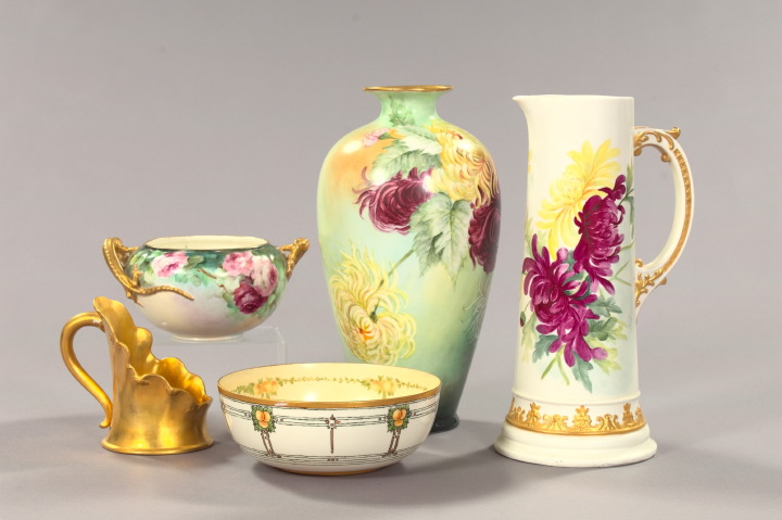 Five-Piece Collection of Hand-Painted American