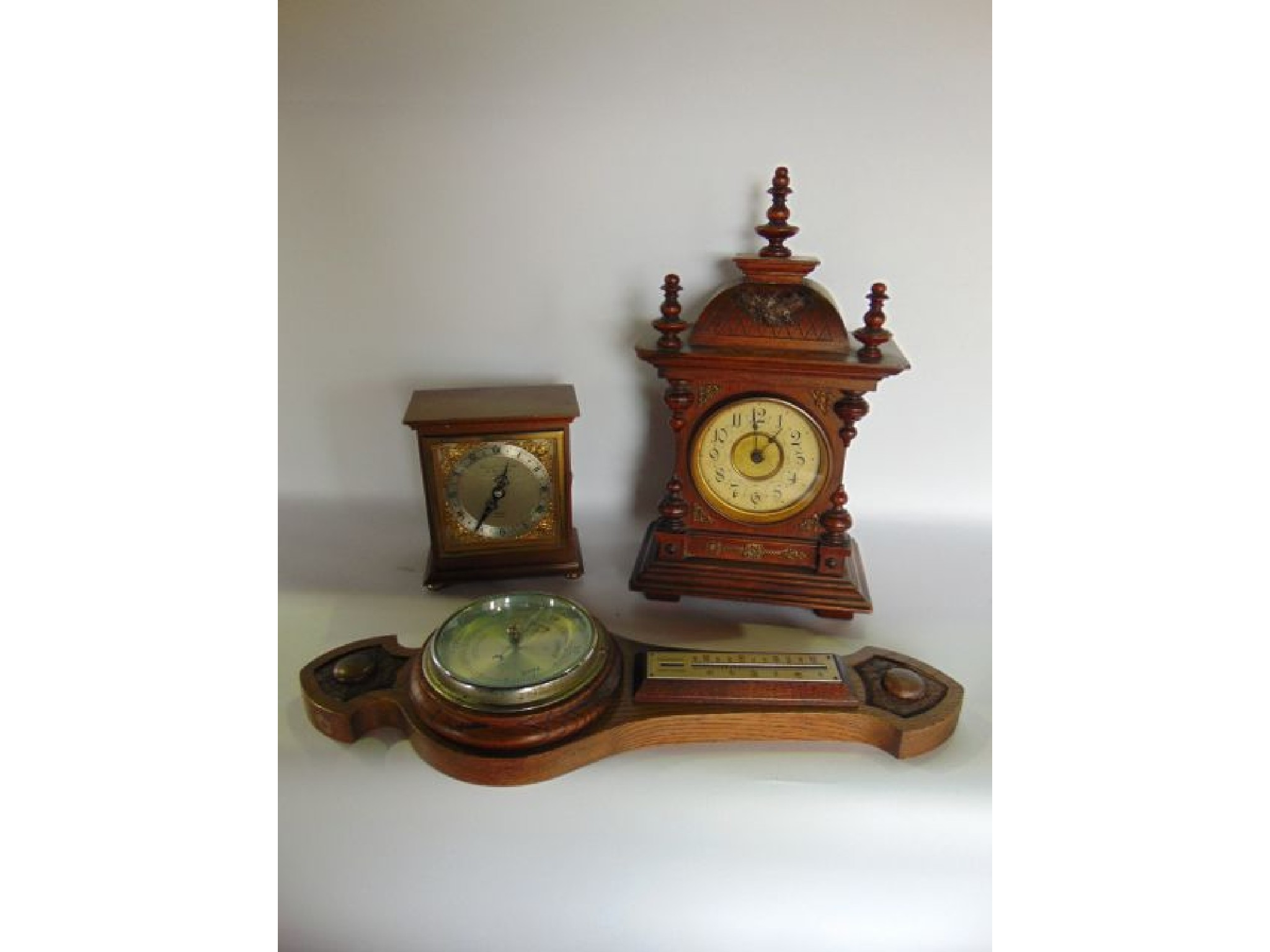 A small German bracket clock, the case with
