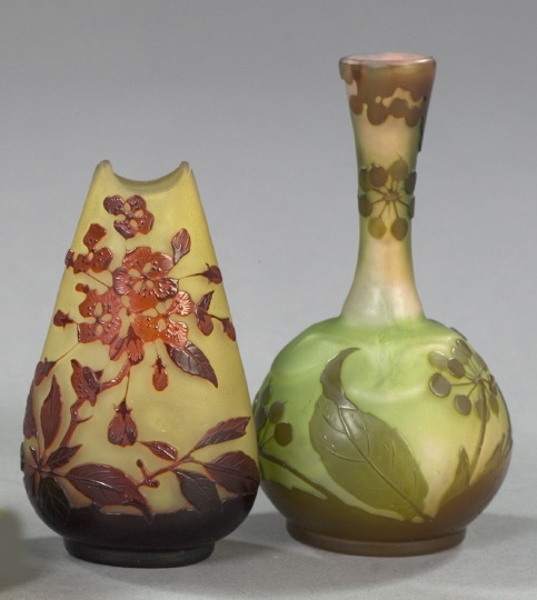 Two Small Galle Glass Vases,  fourth quarter