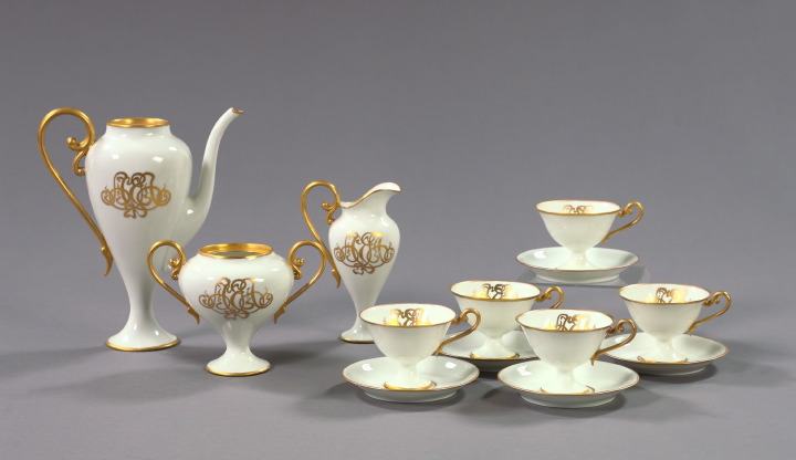 Thirteen-Piece Jean Pouyat, Limoges, White-and-Gold