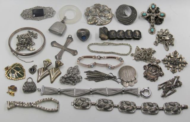JEWELRY. Large Grouping of Silver Jewelry.Includes