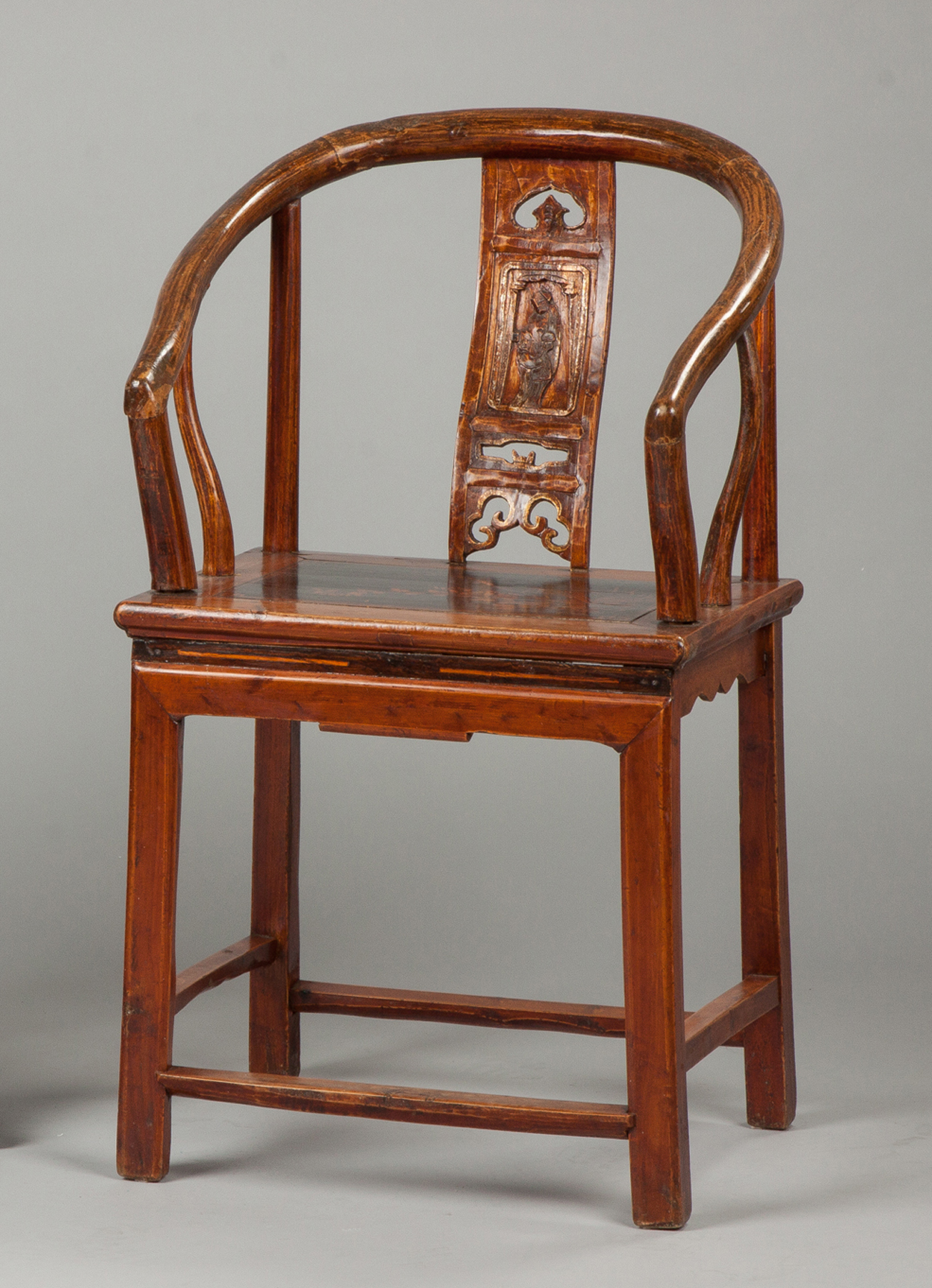 Chinese Carved & Lacquered Arm Chair  Late