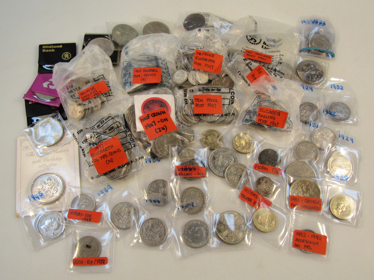 Various pre-decimal and commemorative coins,