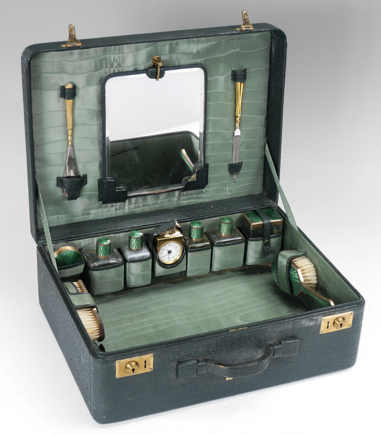 GERMAN GUILLLOCHE TOILETRY TRAVEL CASE: