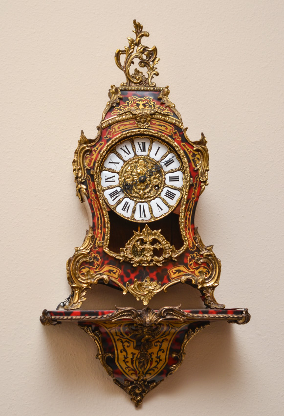 BOULLE INLAY MANTLE CLOCK AND SHELF:  Rococo