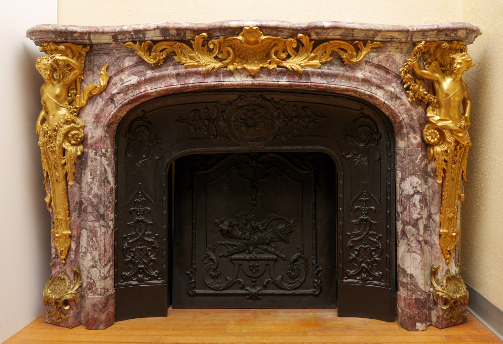 FRENCH MARBLE AND GILT ORMOLU FIREPLACE MANTLE: