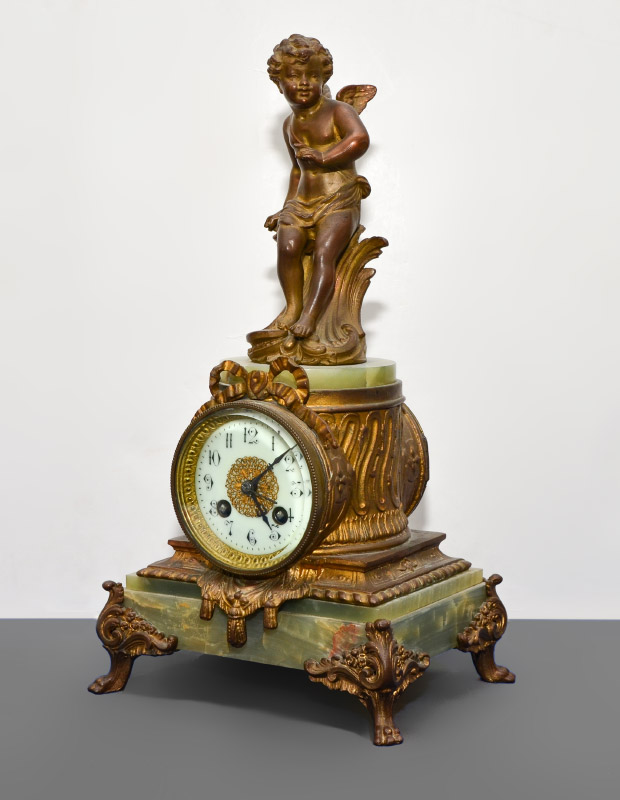 FIGURAL CHERUB AND ONYX FRENCH MANTLE CLOCK: