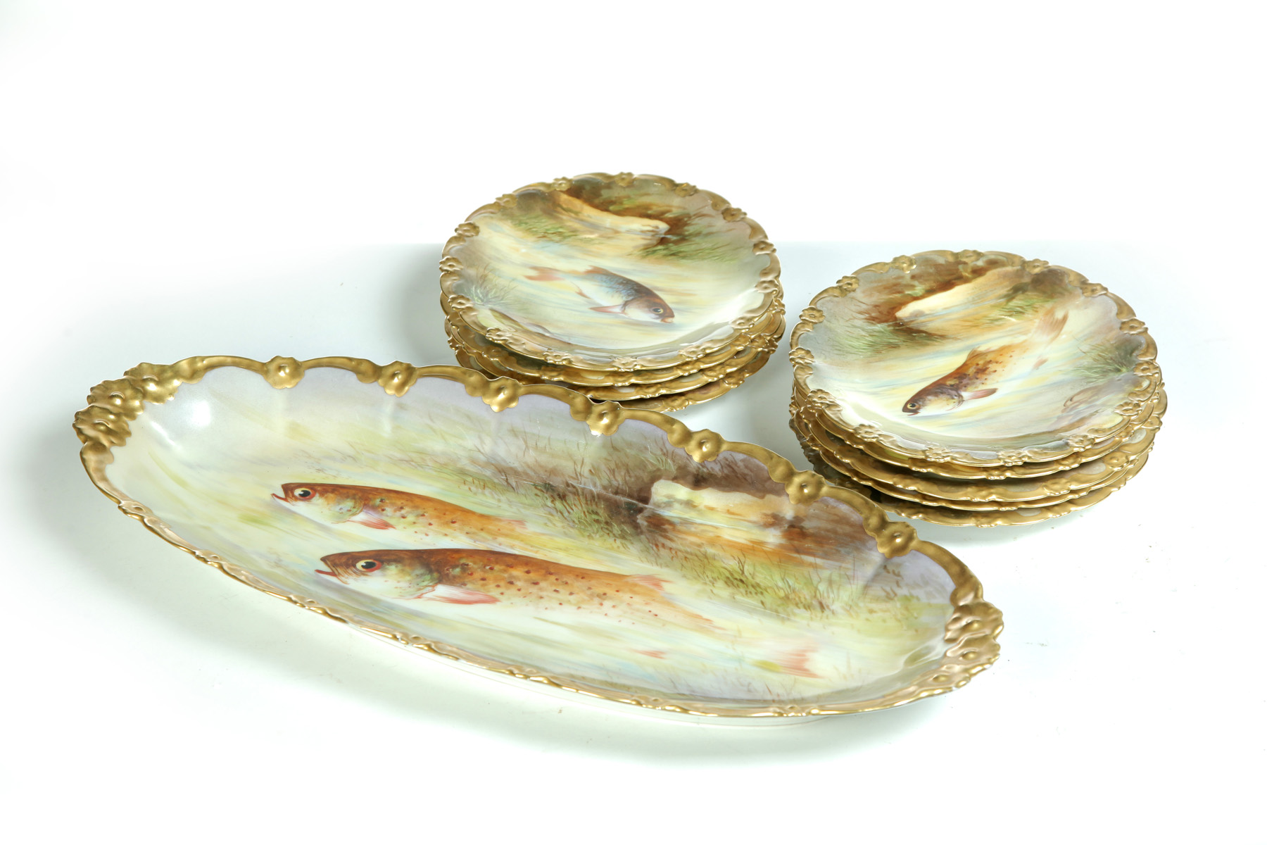 HAND PAINTED LIMOGES TEN-PIECE FISH SET SIGNED