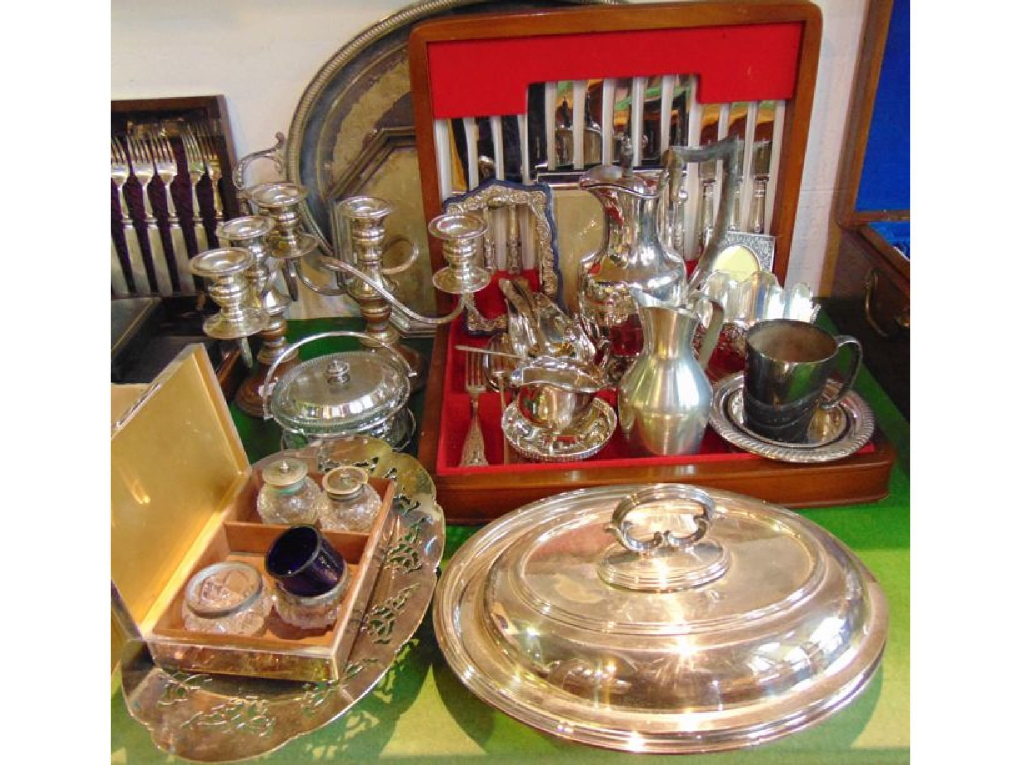 A quantity of plated wares to include a canteen