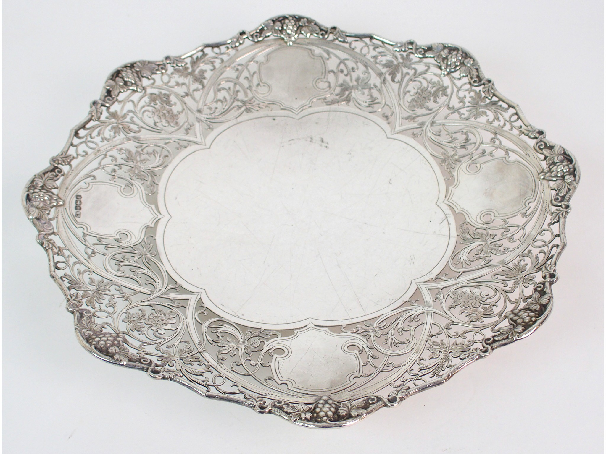 A silver fruit dishby Harrison Brothers &