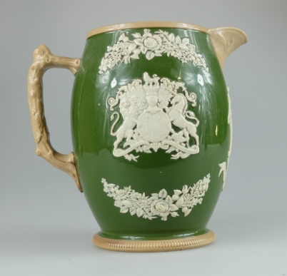 Copeland's late Spode embossed white on green