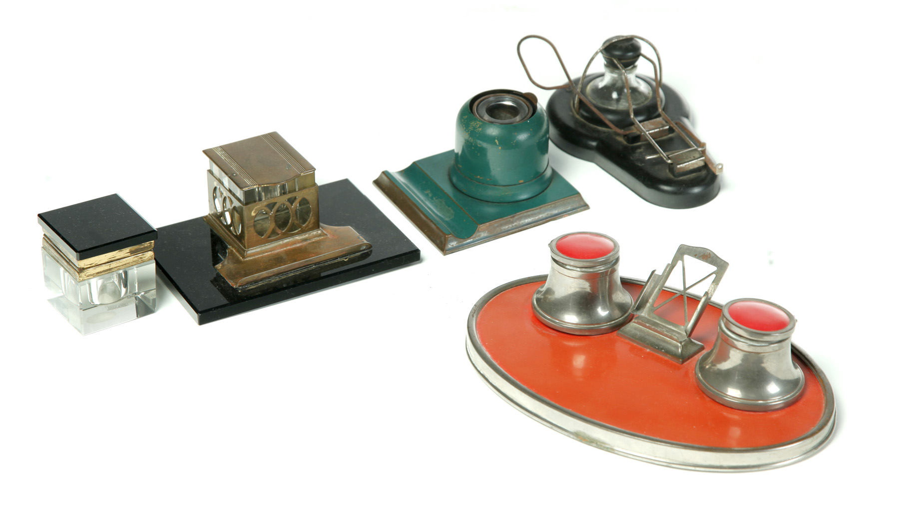 FOUR ART DECO INKSTANDS AND AN ART DECO INKWELL.