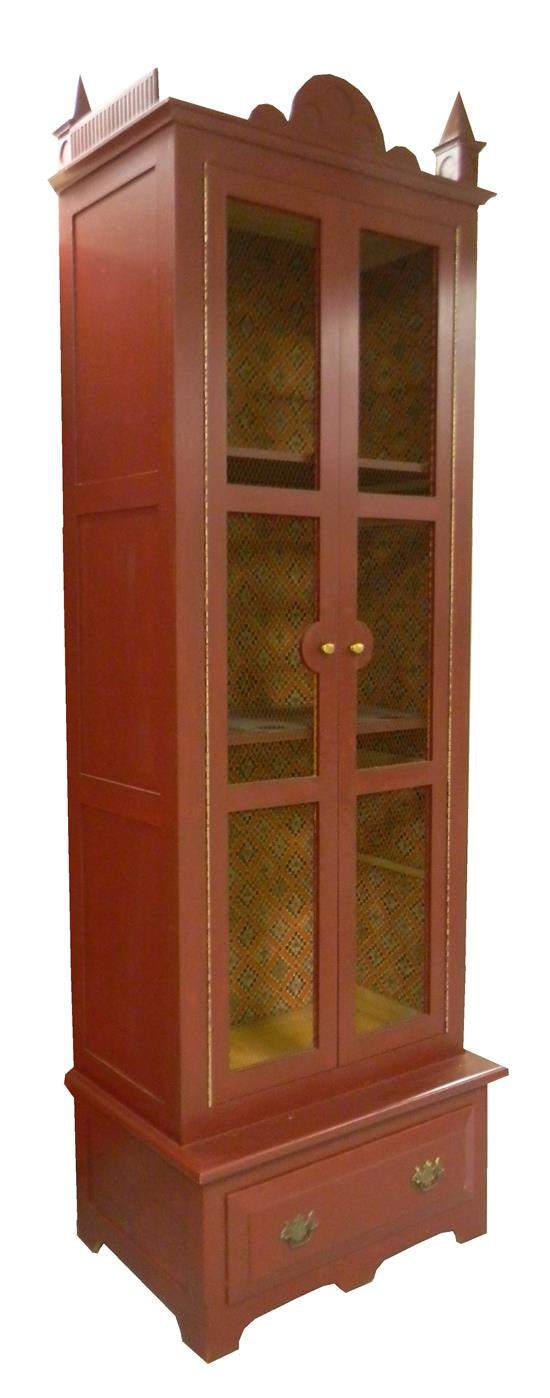 Price guide for 20th C. tall cabinet, pine, red painted ...