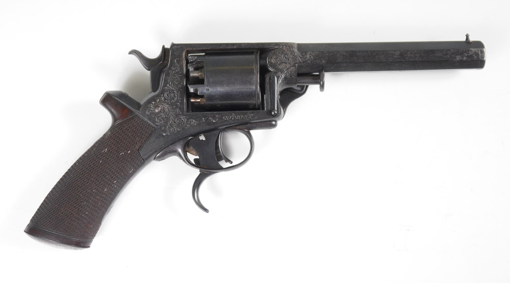 CIVIL WAR ERA CASED ENGRAVED TRANTER REVOLVER: