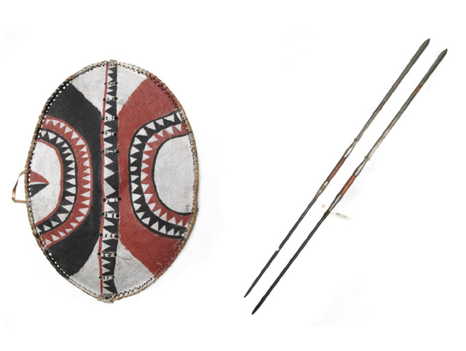 Price guide for AFRICAN TRIBAL SHIELD AND TWO SPEARS, Maasai