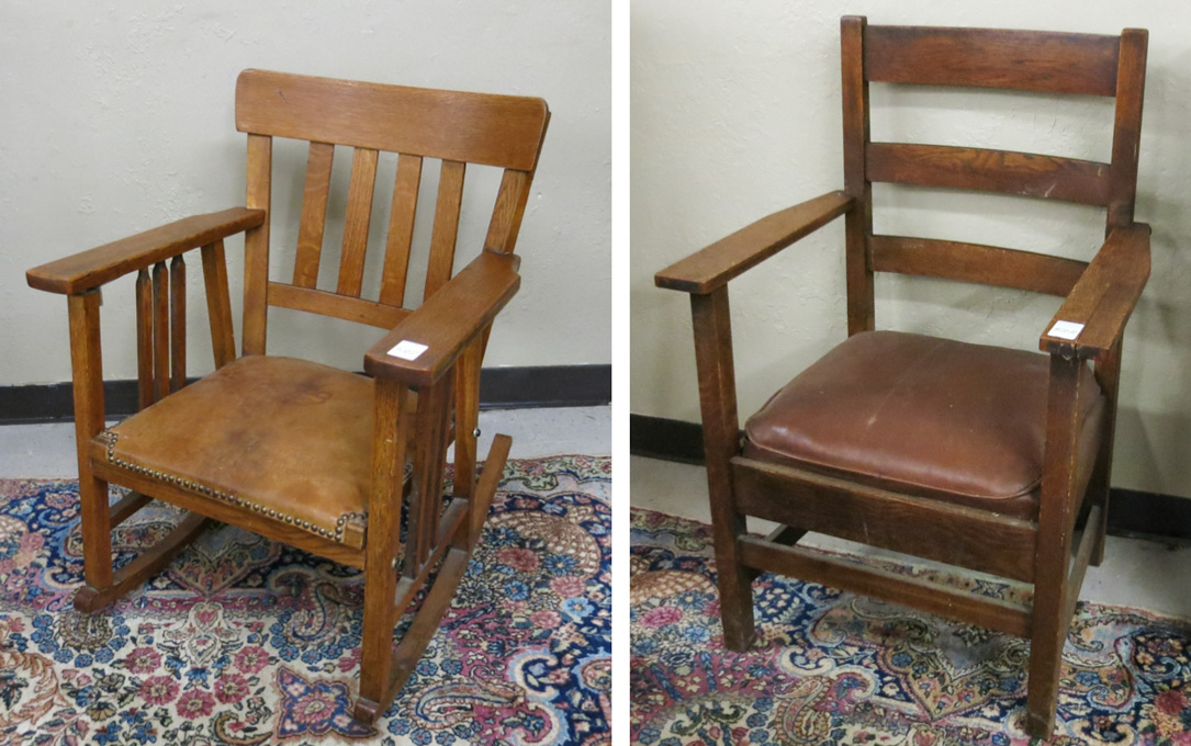 CRAFTSMAN OAK ROCKING CHAIR AND ARMCHAIR,