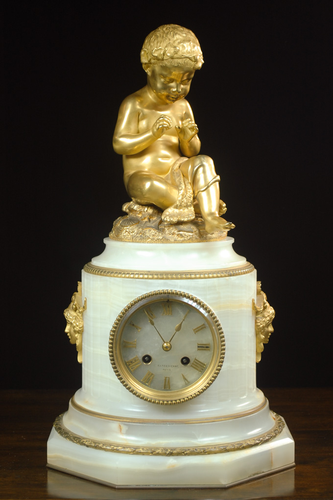 FRENCH MARBLE AND FIGURAL GILT-BRONZE PEDESTAL