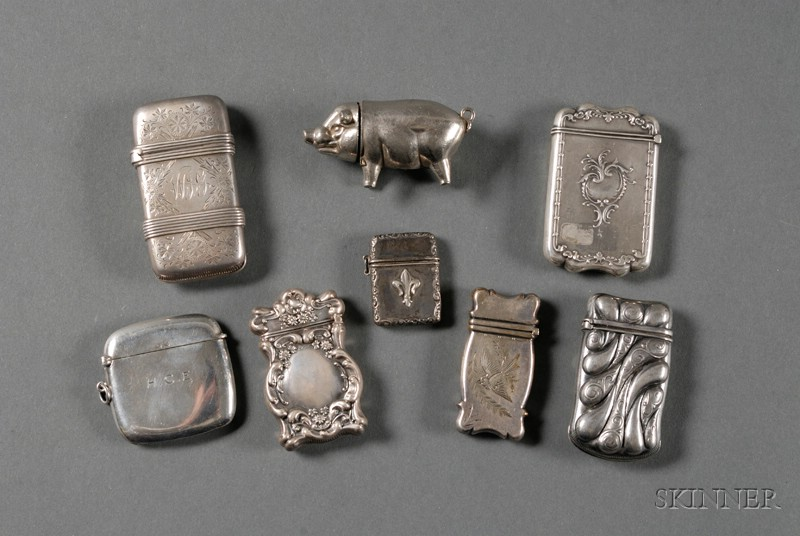 Seven Sterling Matchsafes, late 19th/early