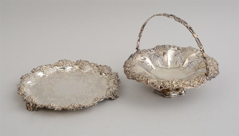 VICTORIAN SILVER FOOTED CAKE BASKET AND A