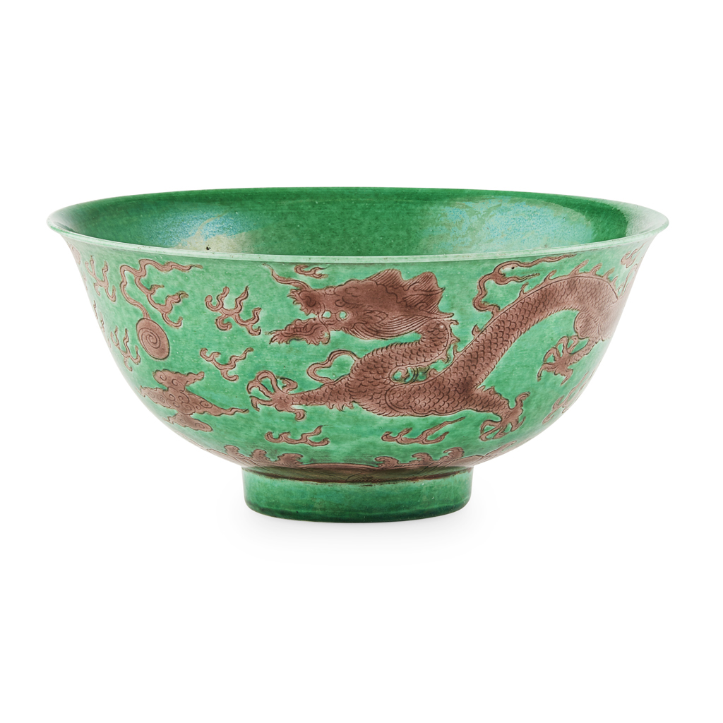 AUBERGINE-ENAMELLED GREEN-GROUND 'DRAGON'