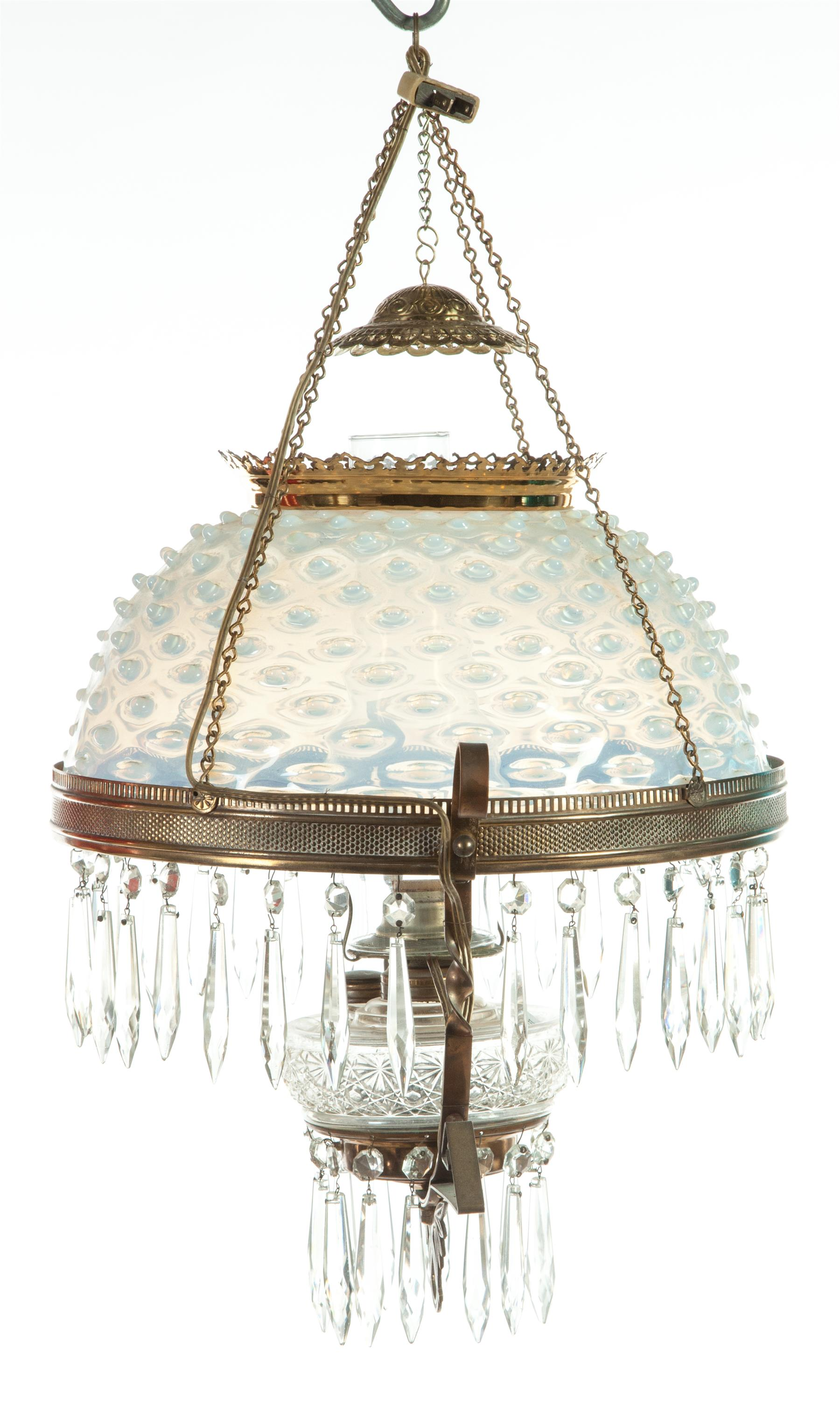 TWO HANGING VICTORIAN PARLOR LAMPS.  American,