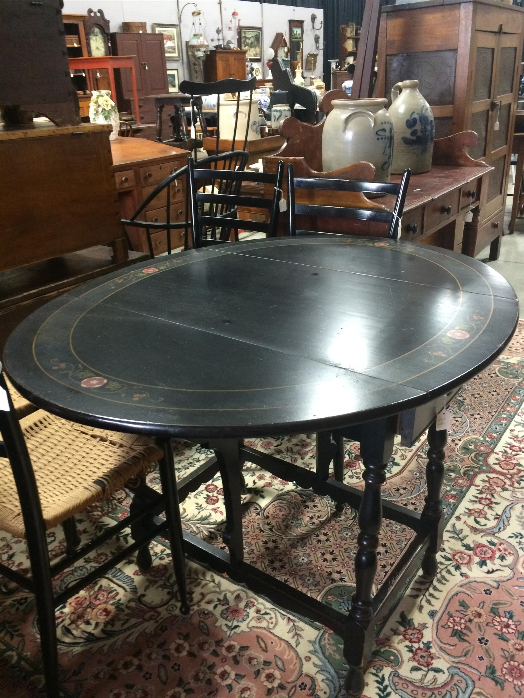 Wilhelm Furniture Company Hand Painted Drop Leaf Table With Single Drawer Sturgis Michigan 20th Century Black Paint Fl Accents Dovetailed