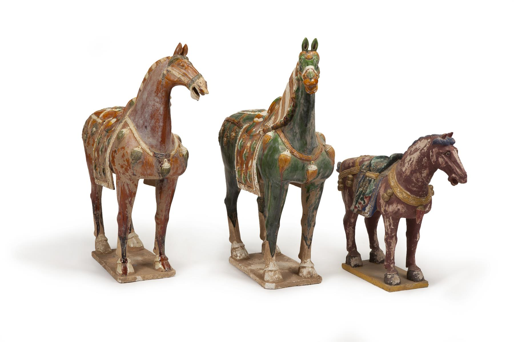 THREE ASIAN TANG-STYLE HORSES.  Second half-20th