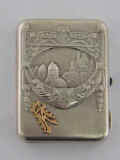 A Russian silver cigarette case, maker's