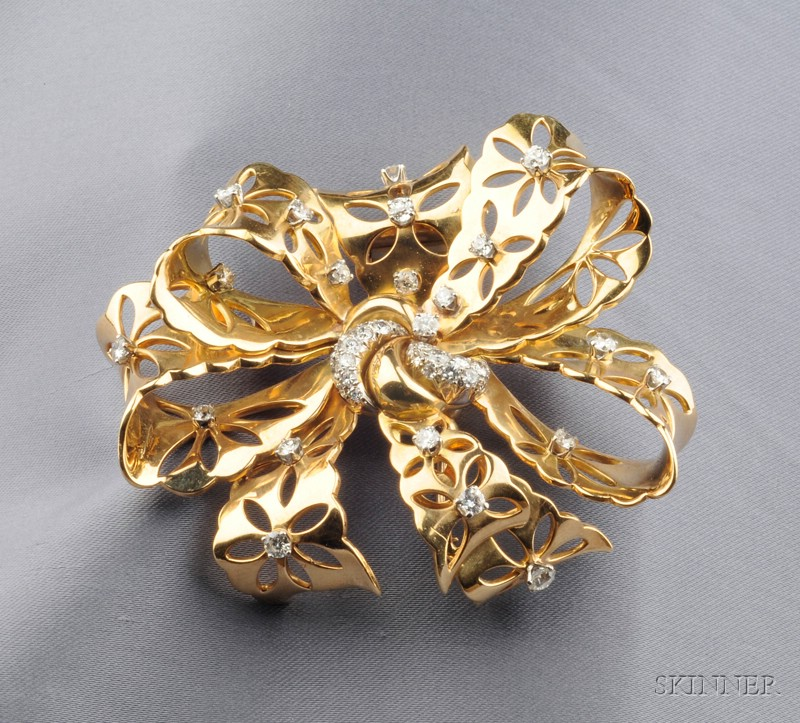 "18kt Gold, Platinum, and Diamond ""Lace"" Clip/Brooch,"