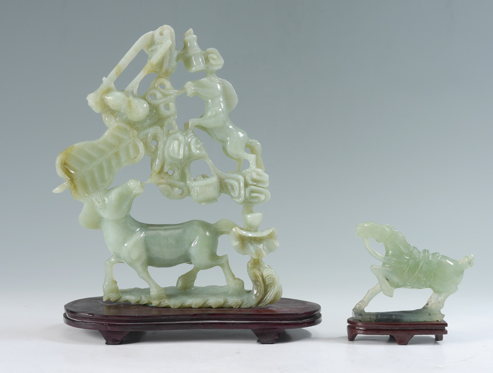 2 PIECE CHINESE CARVED SERPENTINE HORSE FIGURES: