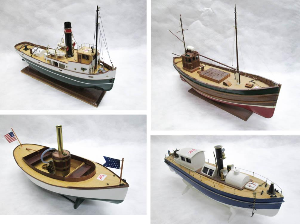 "FOUR HAND CRAFTED WOOD BOAT MODELS:  18.75""L"